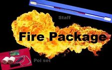 Awesome Fire twirling Package deal. Staff and Poi. Black grip Red highlights