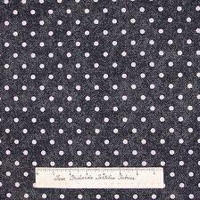 "Polka Dot Fabric - White 1/4"" Dots on Black Denim Print Cranston VIP Cotton YARD"