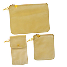 Authentic CHANEL CC Logo 3 Pile Pouch Case Leather Beige Gold Tone 69ER323