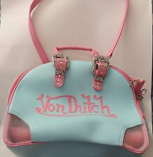 Limited Edition Von Dutch Dog Pet Carrier Suitcase Tote Pink Blue NICE!
