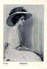 Hela Peters selbstportät dell'artista storica grafica/stampa D'ARTE V. 1914
