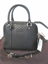Gucci 449654 $995 Micro Guccissima GG Black Leather Convertible Mini Dome Bag NW