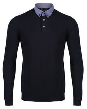 NEXT Mens Long Sleeve Knitted Polo Shirt New Button Down Collar Cotton Blend Top