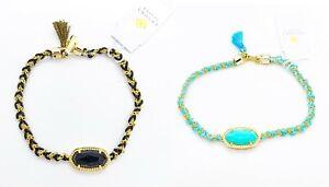 New KENDRA SCOTT Elaina Black Blue Purple Love Friendship Braided Rope Bracelet