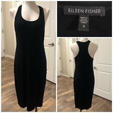 Eileen Fisher Black Racerback Viscose Lycra Jersey Dress Size S Stretch