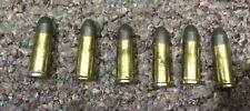 "Vintage Original ""Mattel""(6) Large Toy Cap Gun Pistol Brass Bullets (1-3/8"")USA"