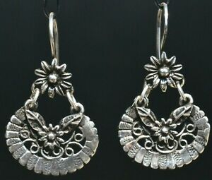 MEXICAN TAXCO JEWELRY STERLING SILVER HOOPS FLOWERS EARRINGS - FRIDA KAHLO STYLE