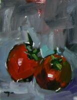 JOSE TRUJILLO Tomatoes OIL PAINTING 8X10 Impressionism RED ABSTRACT SIGNED