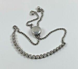 Ema Natural Diamond Tennis Bolo Bracelet in Sterling Silver Adjustable