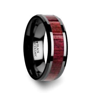 Morado Purple Heart Wood Inlaid Black Ceramic Ring Beveled Edges