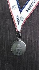 """Basketball net and ball 1 1/4"""" dia medal gold with theme neck drape"""