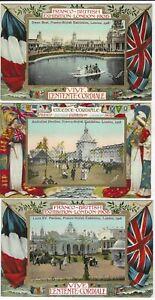 1908 Franco British Exhibition Valentines Series comic cards x 8 unused and used