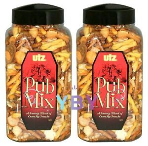 2 Packs Utz Pub Mix Barrels A Savory Blend of Crunchy Snacks 44 OZ Each Pack