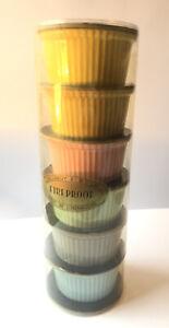 Villeroy & Boch Multicoloured Ribbed Ramekin Soufflé X6 In Box! Mint Fireproof