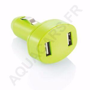 Chargeur Double Sorties USB Bleu 12/24V Double Puissance 800mA / 12A