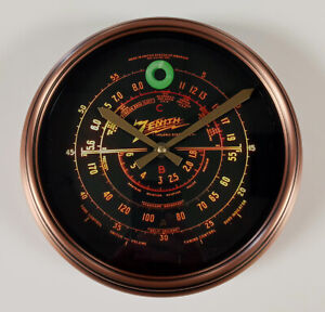Old Antique Style Zenith Black Dial Wall Clock - Vintage Wood Tube Radio Style!