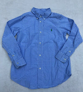 RALPH LAUREN Blue White Check Button Down Shirt Boys Size 7 EUC*** 100% Cotton