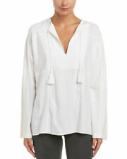 VINCE. Festival Top White Split Neck Tassel Long Slv Top Medium NWT $345