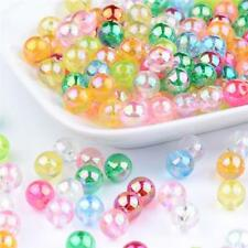 200 x 4mm ACRYLIC TRANSLUCENT AB PEARL ROUND BEADS MIXED COLOURS ACR27