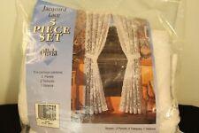 Jacquard Lace 5 Piece Set Curtains Olivia Pattern White 70 x 60