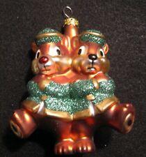 Disney Parks Chip n' Dale Blown Glass Christmas Ornament Green Glitter