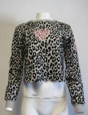 GIAMBA GREY/BLACK textured leopard print sweatshirt with floral hear SZ 40/xs