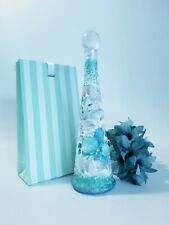Lily upcycled decoupage bottle, blue home decor, spring centerpiece in gift box