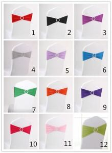 50 PCS / 20 Colors Spandex Stretch Double Hemmed Wedding Chair Sashes + Buckle