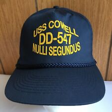 Mens Hat Cap USS Cowell DD-547 Nulli Segundus Blue Yellow One Size Snap Back