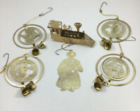 Vintage Brass 70s 80s Engraved Brass Christmas Ornaments - Assorted Lot of 6