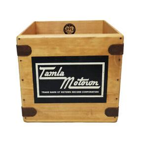 "Tamla Classic Soul Record box 7"" Vinyl Record Box LP Vintage Wooden Crate Retro"