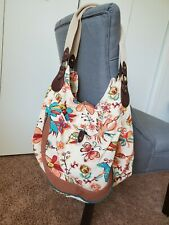 Lucky Brand Canvas Leather Large Floral Satchel Tote