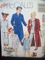 Vintage McCalls Pattern 4029 Kids Robe Nightshirt Pajamas Cut Size 2-3 c. 1988