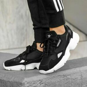 ADIDAS FALCON  WOMENS SHOES CHUNKY B28129  BLACK WHITE 100% AUTHENTIC
