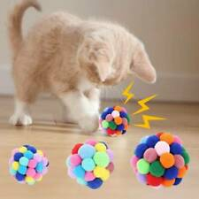 New listing Pet Cat Toy Colorful Handmade Bells Bouncy Ball Built-In Catnip Interactive Toy.