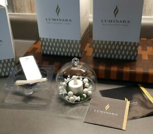 3 New Luminara Real Flame Effect Candle PEARL holly wreathed candle ornaments