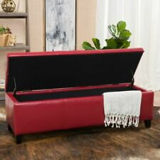 Christopher Knight Home 296847 Faux Leather Storage Ottoman - Red