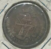 1880 Ho A Mexico 50 Centavos - Hermosillo Mint