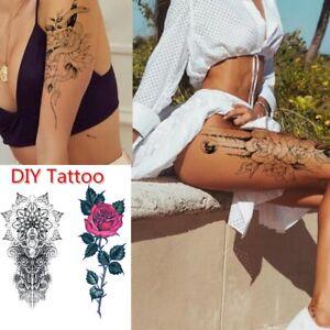 Fashion Women Temporary Large Fake Tattoos Tattoo Sticker Black Flower Body Art~