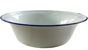 Large Enamel Wash Bowl, vintage style.Washing up basin, planter 36 cm white/blue