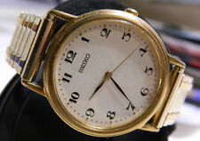 Men's Ultra Thin Seiko Easy to Read Classic Watch V701-2A49 Premium Gold Finish!