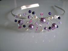 Serre tête bijou cheveux couleur ivoire mauve parme violet robe Mariée/Mariage