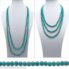 "Genuine Natural Turquoise 80"" Long 8mm Bead Stranded Necklace"