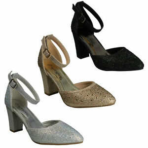 F9R0092 LADIES ANNE MICHELLE ANKLE STRAP HIGH HEELED GLITTER EVENING COURT SHOES