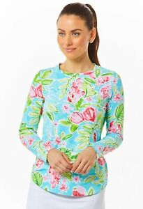 IBKUL Tutti Crew Neck Top Seafoam Floral Long Sleeve S M L XL UPF 50 Golf Shirt