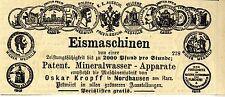 Eismaschinen & Mineralwasser-Apparate Oskar Kropff Nordhausen * Annonce 1878
