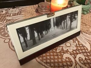 Modern Walnut And Glass Panoramic Photo Picture Frame With Matting & Easel Back
