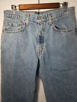 Vintage 90s Levis 550 33x30 Mom Jeans Tapered High Rise Waisted Light Blue Wash
