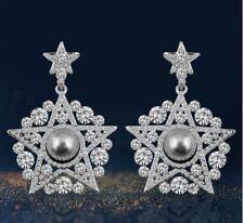 STELLA argento placcato CZ Cristallo Goccia Dangle Orecchini di Perle