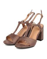 New Women Refresh Barika-02 Faux Suede Open Toe T-Strap Block Heel Sandal